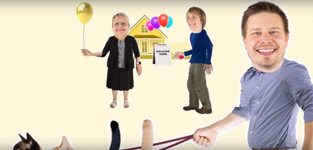 Miniatura de un vídeo que muestra a un hombre paseando gatos y a una mujer sosteniendo globos.